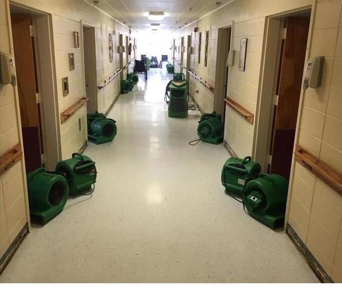 Nursing Home Drying Process with air movers onsite